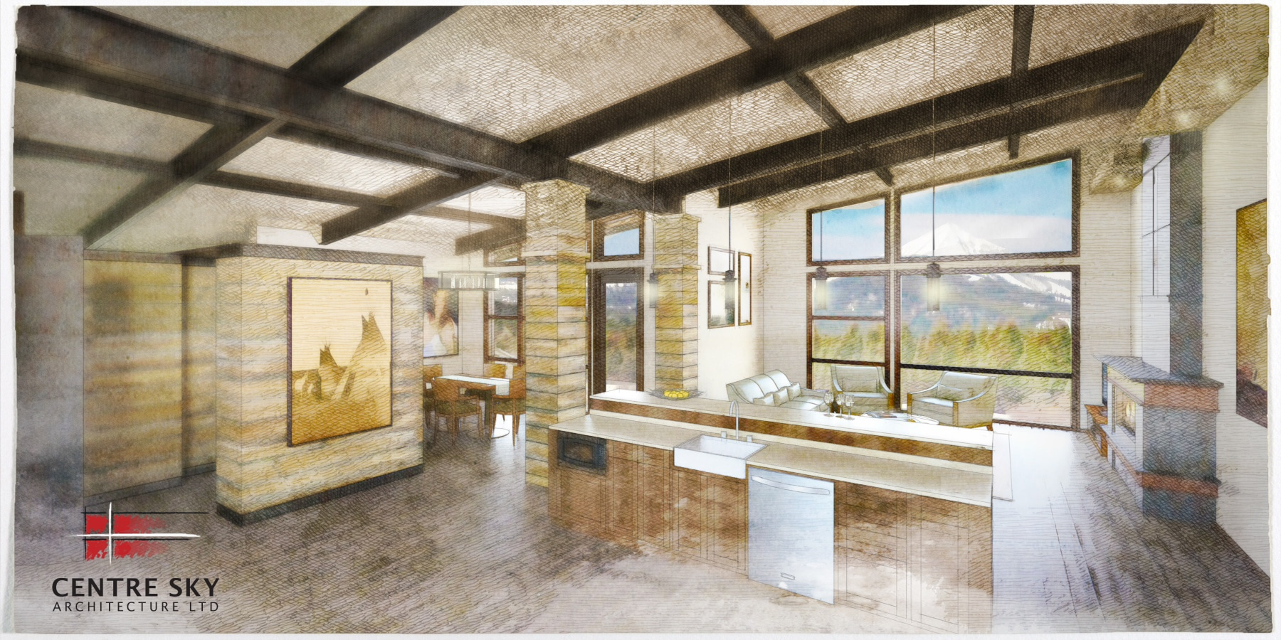 Rusted Exposed Steel Beams Mountain Contemporary Design