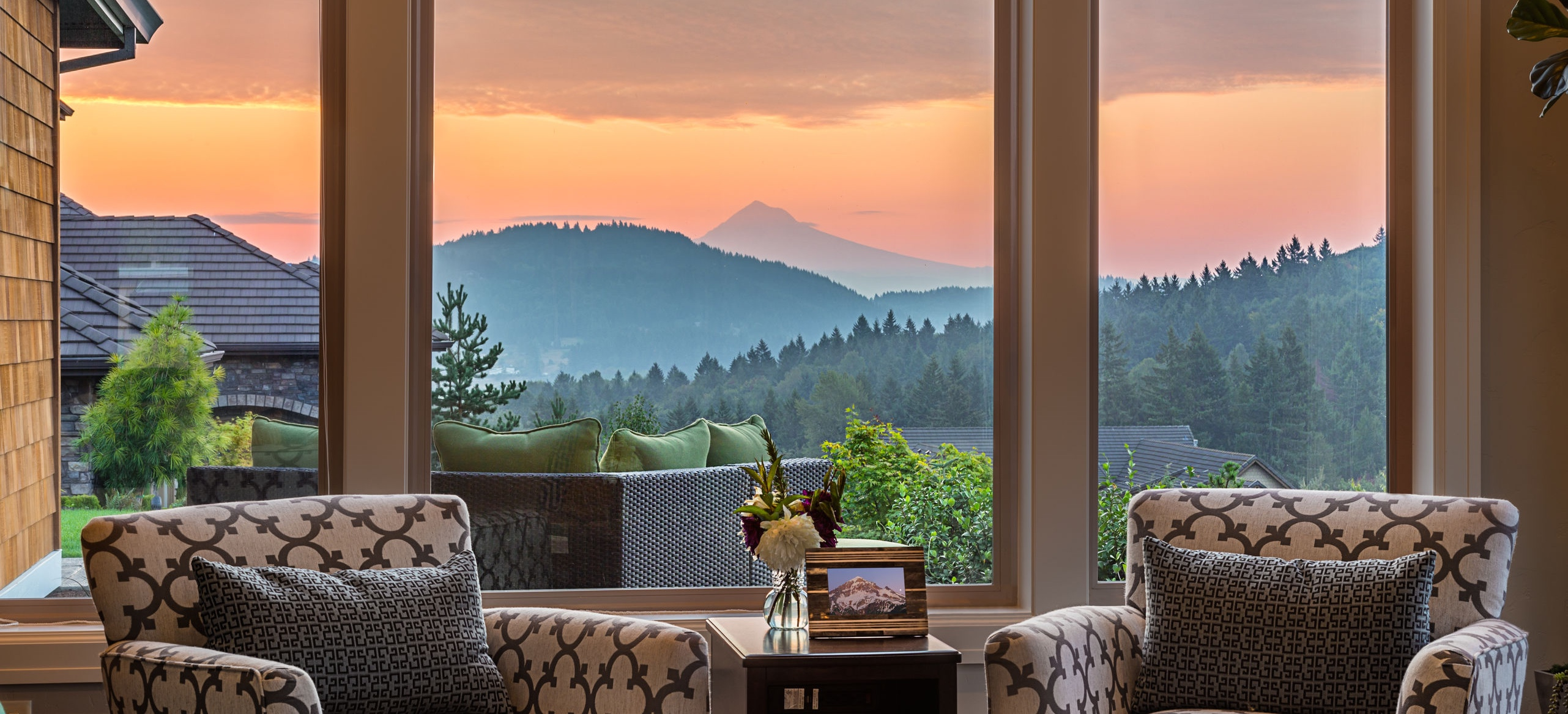 Gorgeous Sunset View from Living Room in New Mountain Home