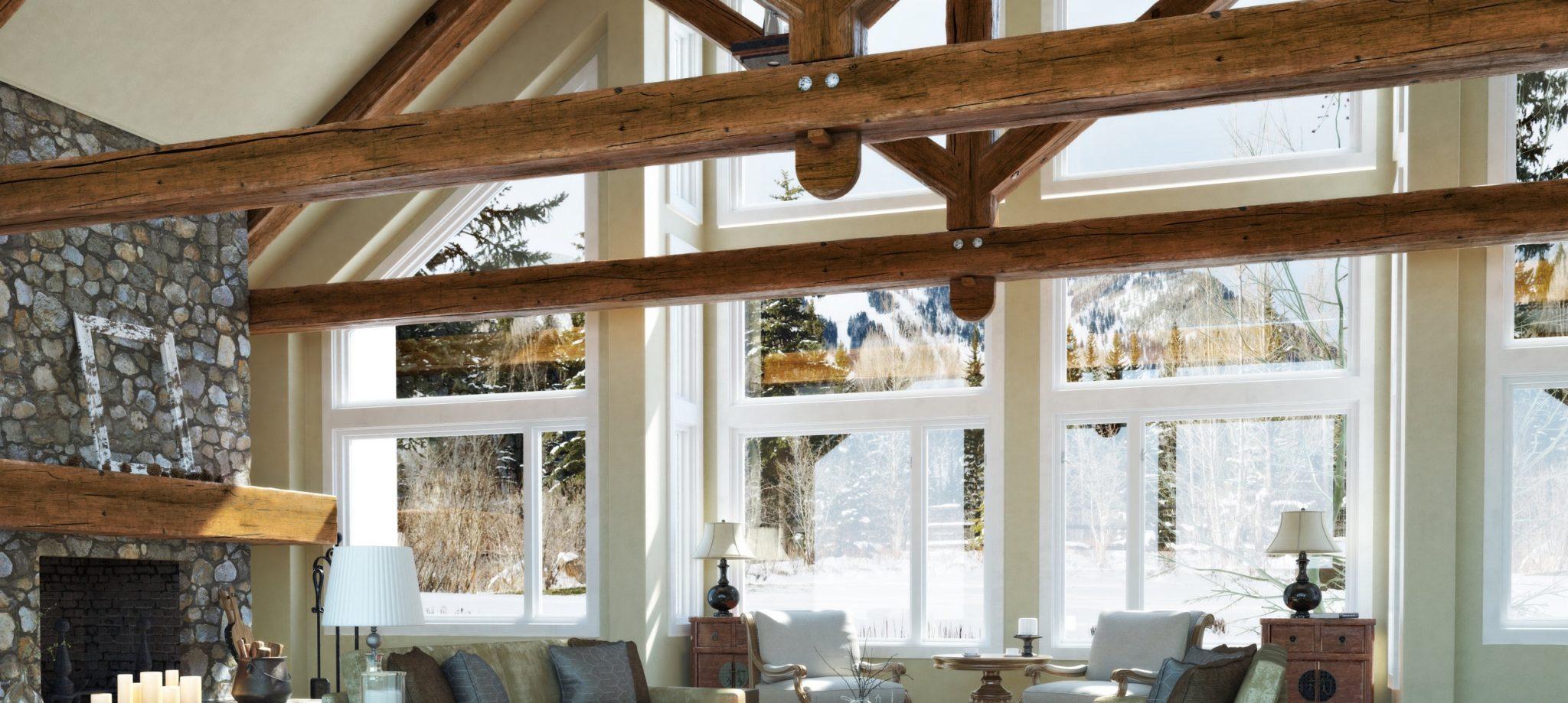 Luxurious open floor cabin interior family room
